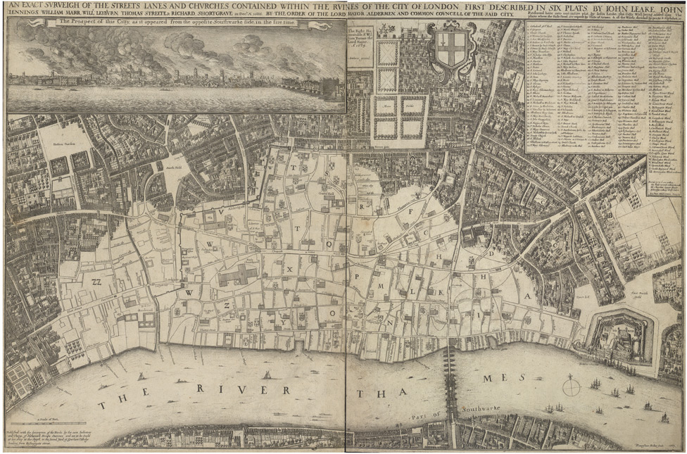 AN EXACT SURVEIGH OF THE STREETS LANES AND CHVRCHES CONTAINED WITHIN THE RVINES OF THE CITY OF LONDON FIRST DESCRIBED IN SIX PLATS